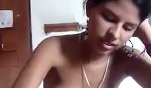 Small tittied Indian legal age teenager riding hard dick like a cowgirl in non-professional video