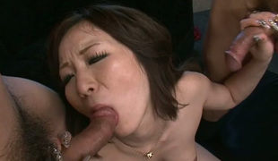Spicy Japanese slut Ayami  toy screwed intensively in threesome action