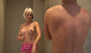Pink nylons babe with a great ass fucks in the shower