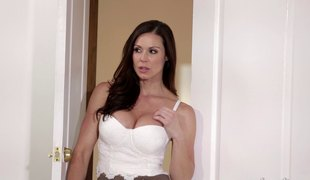 Lingerie wearing MILF seduces a handsome dude and acquires fucked hardcore