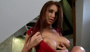 Big boobed cock sucker enjoys it when fellows cum on her whoppers