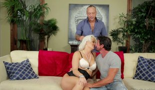 Cock hungry blonde wife gets double permeated by hubby and a friend