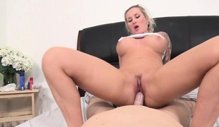 Tattooed blond with perfect boobs and wazoo goes wild for a lengthy stick