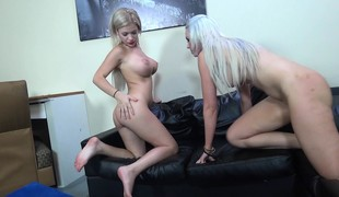 Marvelous and lewd blonde cuties Bibi Noel and Gigi Allens get nailed