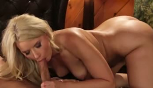 Voracious tasty blondie Anikka Albrite sucks sick man off in extreme 69 pose