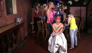 Cute hotties wish to be drilled by male strippers during a party