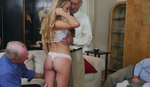 Appealing golden-haired angel Molly Mae fucks horny grandpas