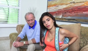 Tanned beauty Michelle Martinez banged by a sexually excited old fart