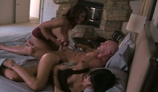 Ebon is in the mood for fucking and gives it to lascivious bang buddy Johnny Sins