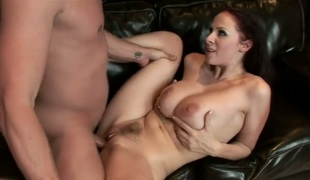 Brunette Gianna Michaels takes unthinkable specie shot on her sweet face