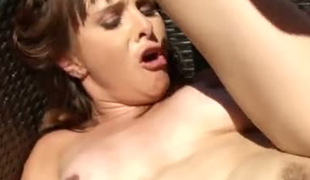 Perverted hubby fucks his sweet darksome haired bitch Cytherea on terrace tough