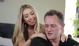 Gorgeous blonde filly Kat Dior has her hairy love tunnel pounded hard