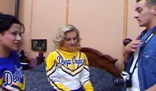Natural scoops cheerleader in miniskirt moans when pounded