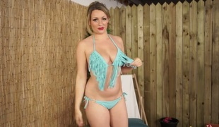 Busty MILF Penny L hula hooping completely in nature's garb