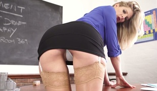 Naughty college teacher Leah flashes her hot upskirt view