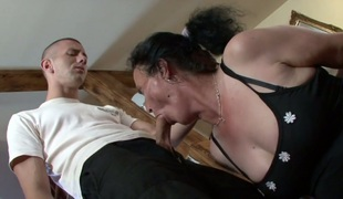 Granny in lace nylons Marianna gets her ruined cunt drilled
