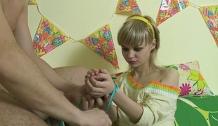 Golden-haired beauty with bound hands Maryana gives some truly good oral pleasure