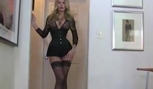 blonde strømper leketøy rett strapon